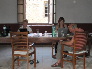 Writers Oliva Espin, Marlane Agriesti and Peter  Woerner at the first SWAY retreat in Tuscany. All completed their books!